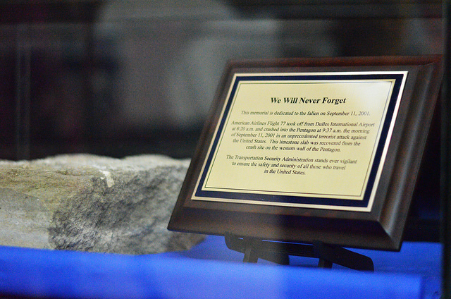 Recovered from the wreckage of the 9/11 Pentagon attack, the artifact is a limestone tablet measuring 31 inches long, 14 inches deep, and 4 inches high and weighing approximately 110 pounds. It was unveiled during the Pentagon Memorial Unveiling Ceremony, Thursday, Sept. 1, 2016, at the IAD airport.