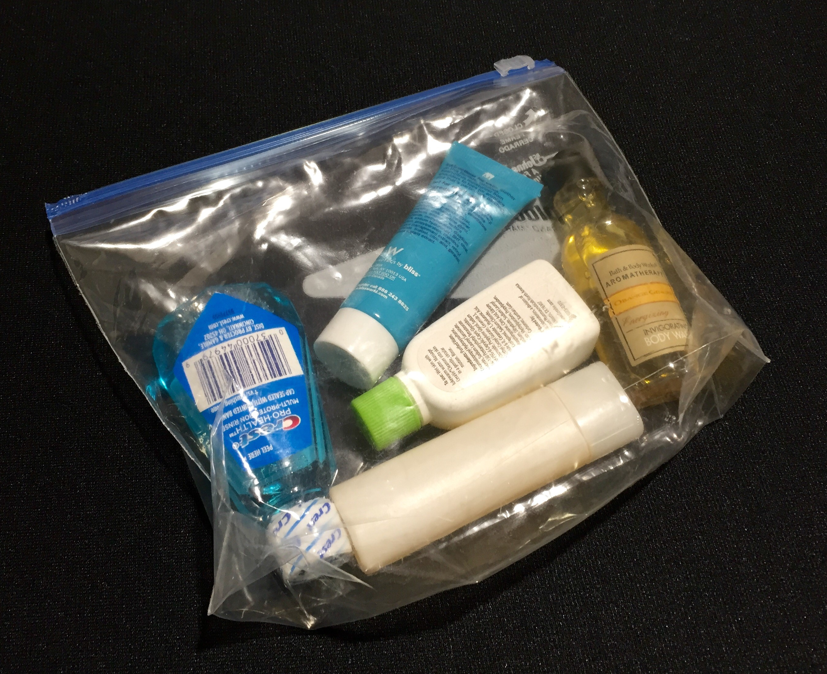 A sample 3-1-1 bag of liquids, gels, creams and pastes. (TSA photo)