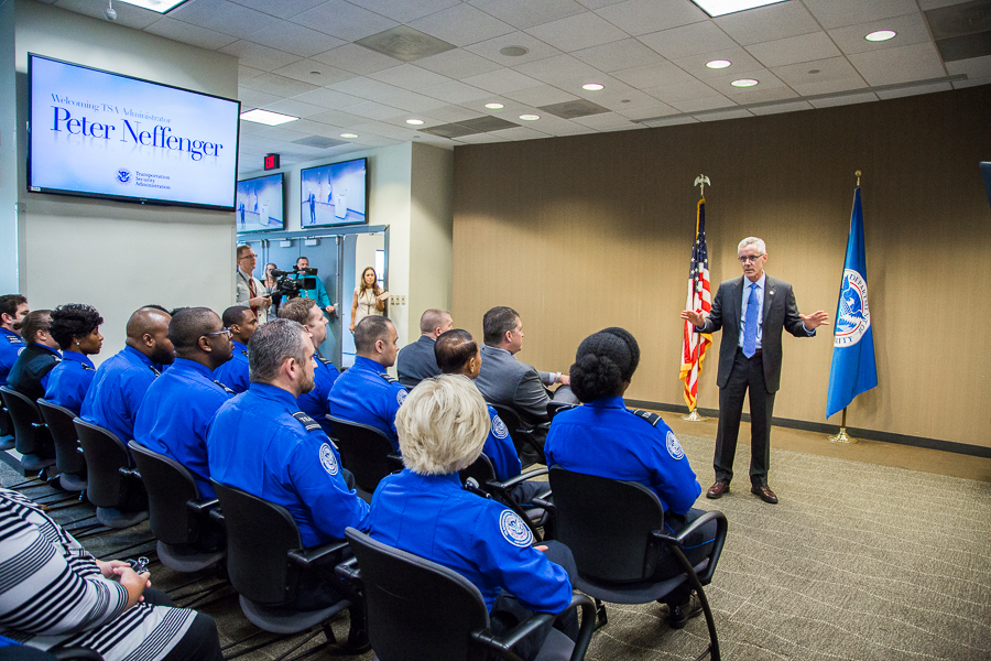 Administrator Peter Neffenger addresses TSA employees during a town hall meeting at TSA headquarters.