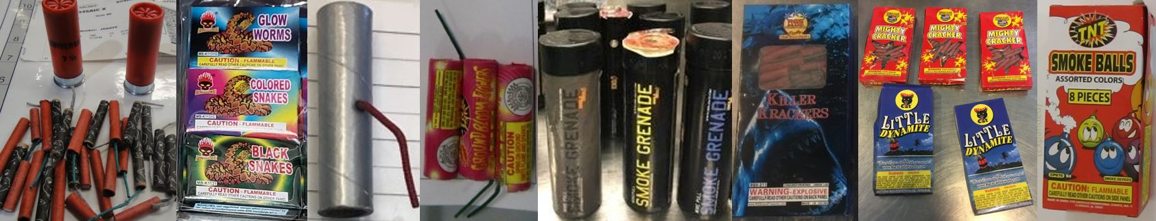 Fireworks are not allowed in either carry-on or checked bags. The fireworks pictured here are just some of the fireworks discovered recently. These were discovered in carry-on and checked bags at ABQ, BNA, BWI, CID, JFK, LAS, OWB, PIT and RIC.