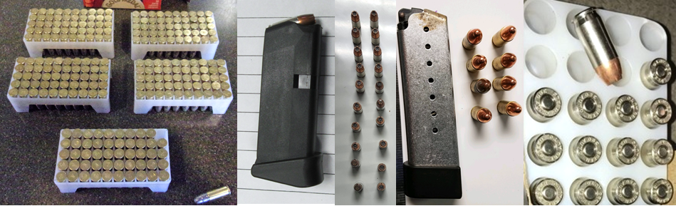 Left to right, the ammunition pictured here was discovered in carry-on bags at ALB, BUR, ORD, ORD and DCA