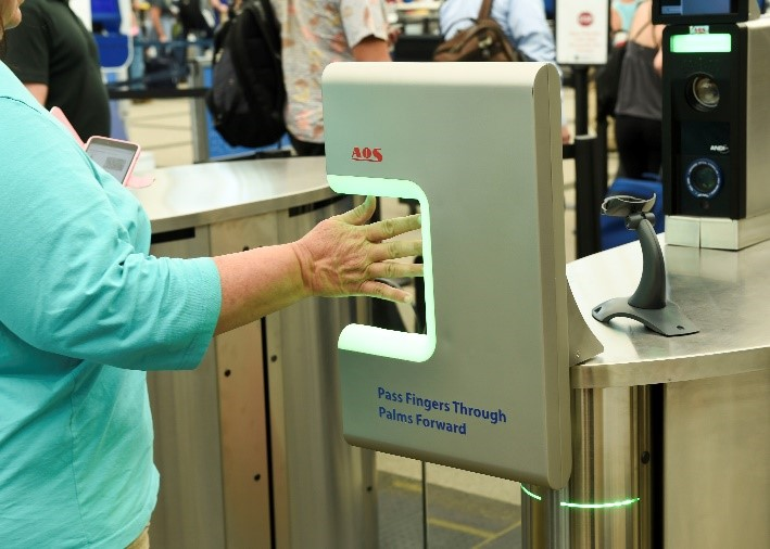 Biometric fingerprint technology in use.