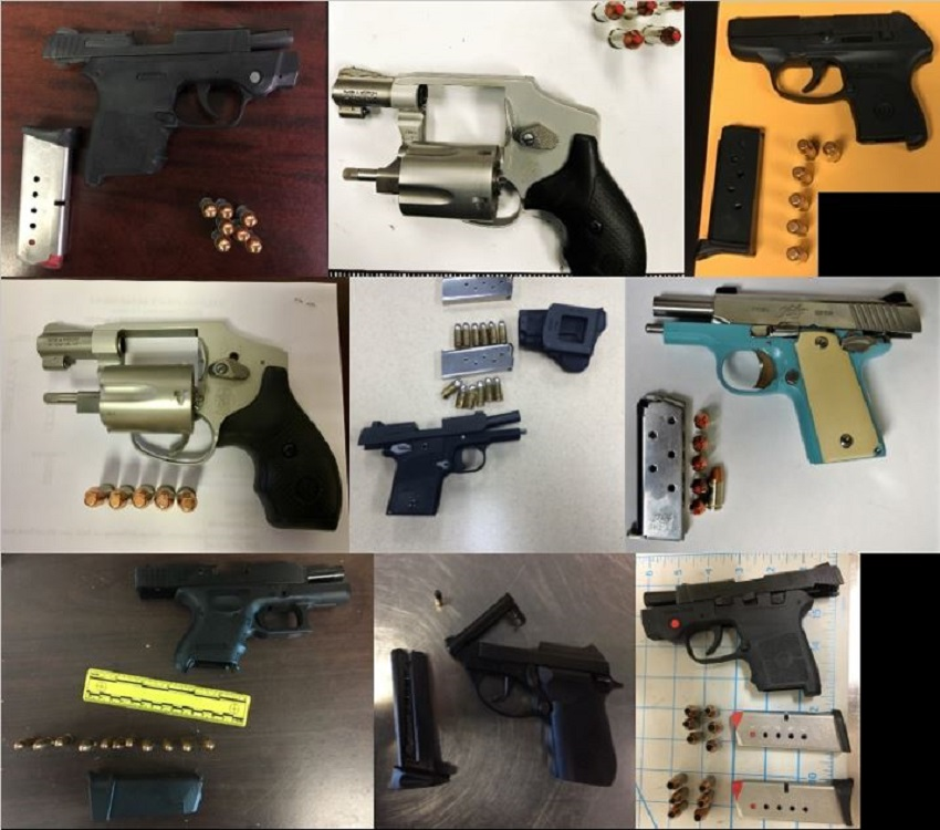 TSA discovered 85 firearms over the last week in carry-on bags around the nation. Of the 85 firearms discovered, 68 were loaded and 17 had a round chambered.