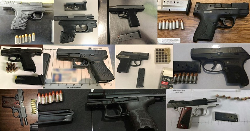 TSA discovered 72 firearms in carry-on bags around the nation last week. Of the 72 firearms discovered, 64 were loaded and 30 had a round chambered.