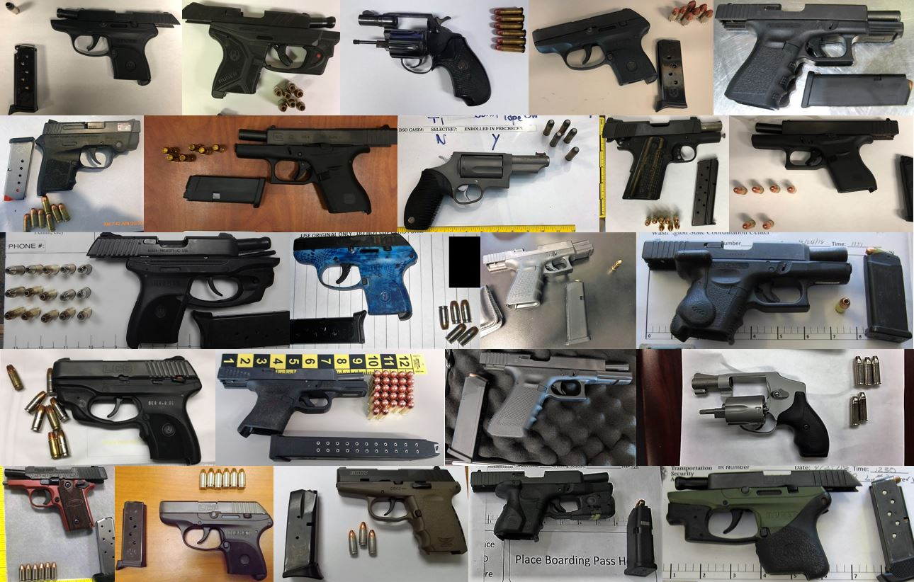 TSA discovered 94 firearms in carry-on bags around the nation last week. Of the 94 firearms discovered, 78 were loaded and 34 had a round chambered.