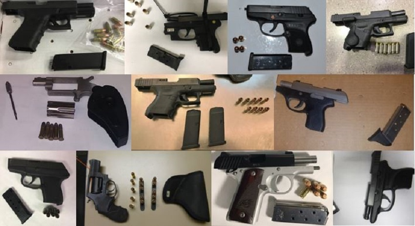 TSA discovered 90 firearms over the last week in carry-on bags around the nation. Of the 90 firearms discovered, 77 were loaded and 28 had a round chambered.
