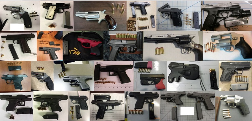 TSA officers discovered 165 firearms over the last two weeks in carry-on bags around the nation. Of the 165 firearms discovered, 144 were loaded and 56 had a round chambered.