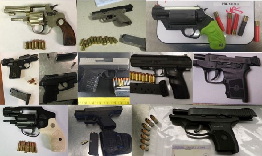 TSA discovered 72 firearms over the last week in carry-on bags around the nation. Of the 72 firearms discovered, 66 were loaded and 25 had a round chambered. Firearm possession laws vary by state and locality.