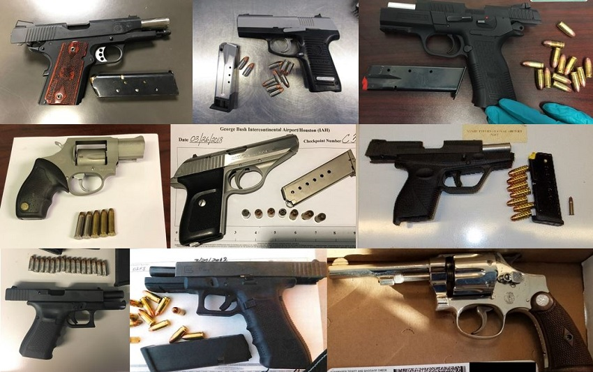 TSA discovered 64 firearms in carry-on bags around the nation last week. Of the 64 firearms discovered, 52 were loaded and 13 had a round chambered.