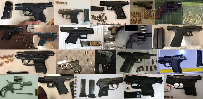 TSA discovered 82 firearms in carry-on bags around the nation from August 20th through the 26th. Of the 82 firearms discovered, 67 were loaded and 27 had a round chambered.