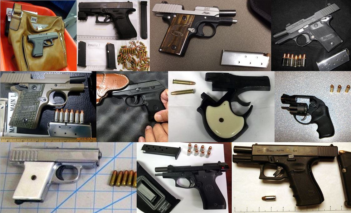 A few of the firearms discovered this week in carry-on bags.