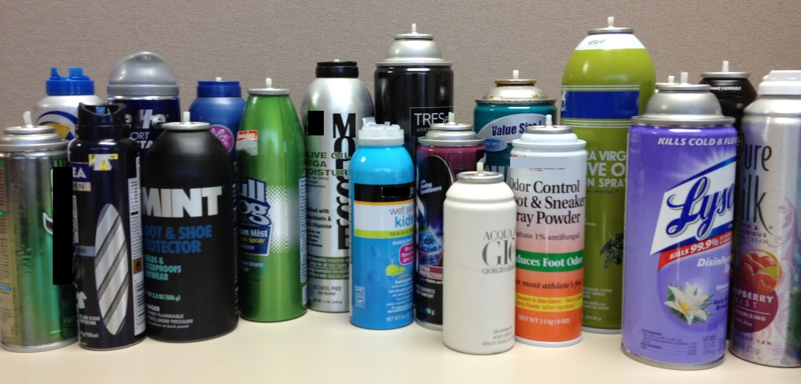 These are samples of several aerosol items that did not make it past the checkpoint in carry-on baggage and were surrendered to TSA at the checkpoint.
