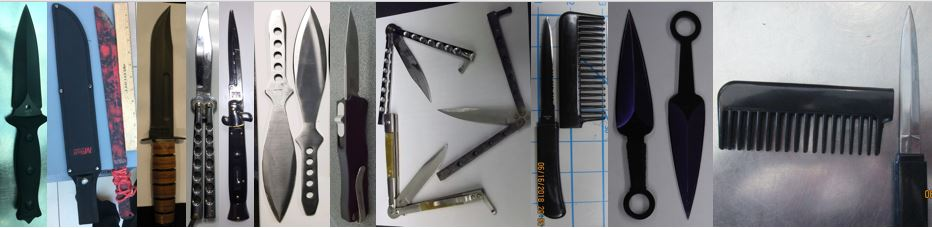 From left to right, these prohibited items were discovered in carry-on bags at BNA, BNA, IAH, ORD, ORD, ORD, RDU, RIC, SAN, SAT and TUL.