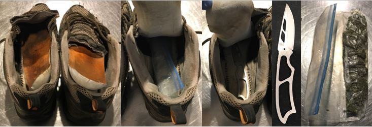 A knife and a small bag of marijuana were discovered concealed under the soles of a pair of shoes. They were discovered in a carry-on bag at the Boise Airport (BOI).