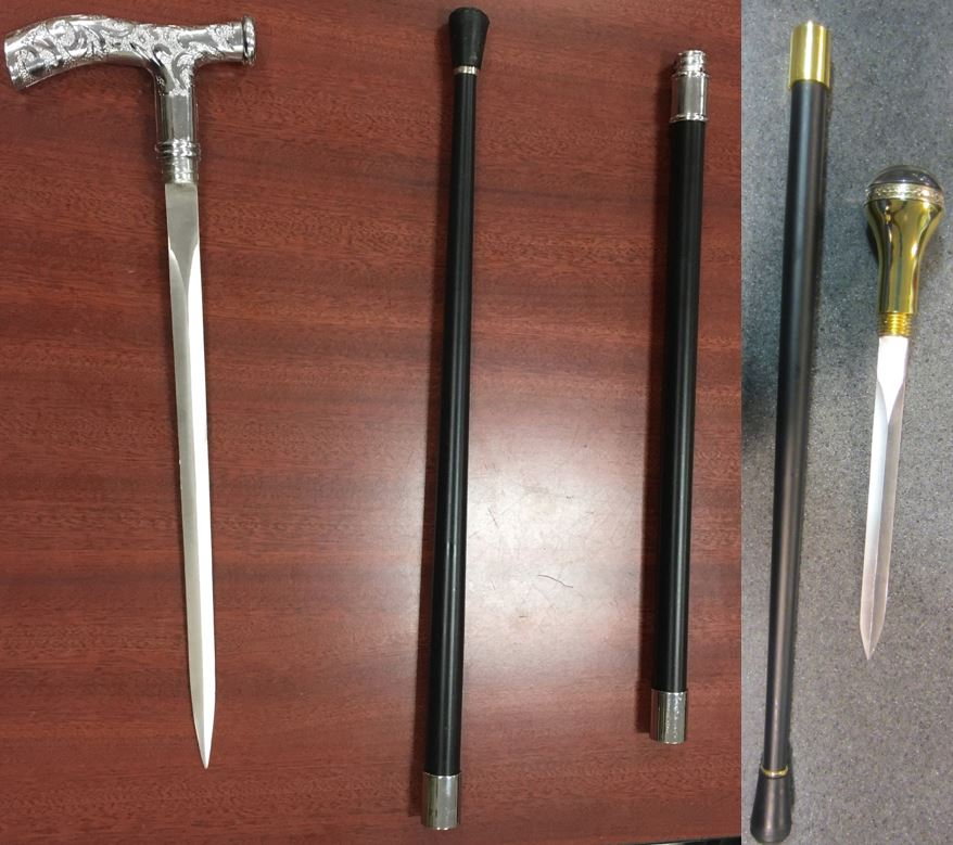 These cane swords were discovered (l-r) at the Baltimore–Washington International Airport (BWI) and the Detroit Metropolitan Airport (DTW).