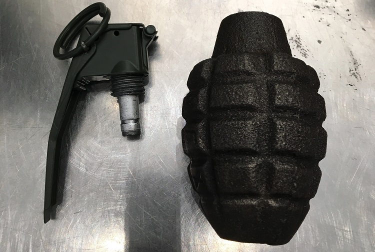 The inert grenade pictured here was discovered in a carry-on bag at the Baltimore–Washington International Airport (BWI).