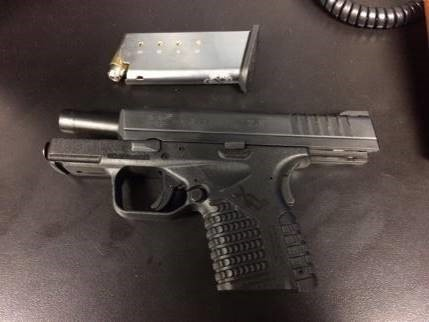 A TSA officer detected this .45 caliber gun, loaded with five bullets, in the shoulder bag of a Charlotte, North Carolina, man at Charlotte Douglas International Airport on Tuesday. (TSA photo)