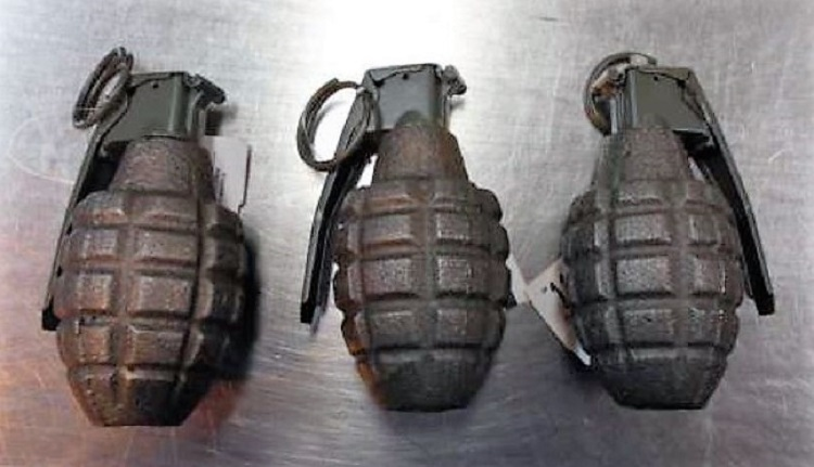 The inert grenades pictured here were discovered in a checked bag at the Denver International Airport (DEN).