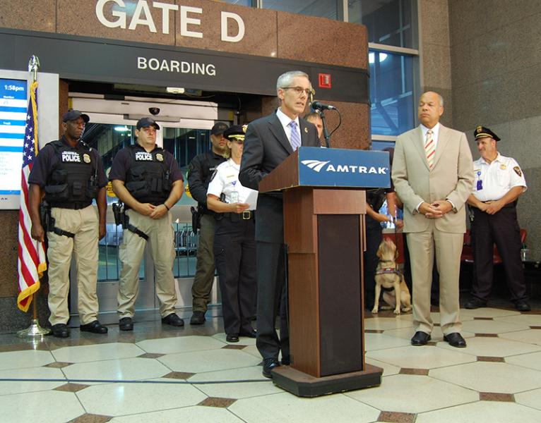 TSA Administrator Peter Neffenger and Secretary of Homeland Security Jeh Johnson at a press conference highlighting nationwide rail security efforts.