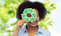 Woman with recycle logo