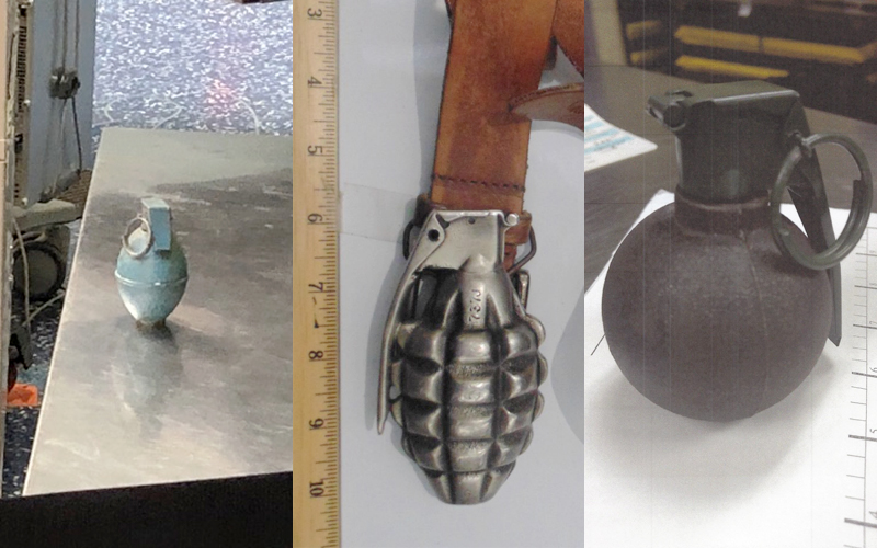 Grenades found during screening