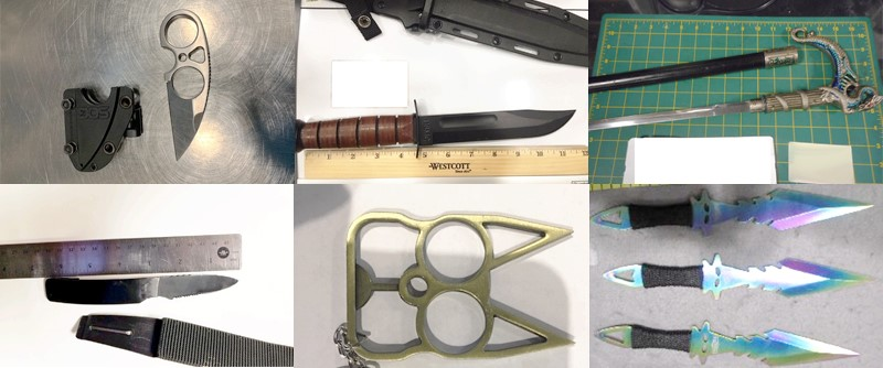 Knives, sharp objects and self-defense weapons