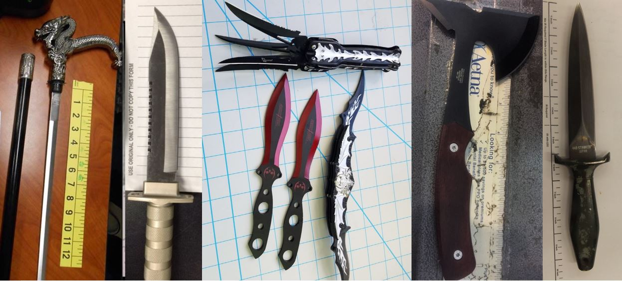 From left to right,  these items were discovered over the last two weeks in carry-on bags at ABE, BUR, DEN, IAH and SNA. While all of these items are prohibited in carry-on bags, they may be packed in checked baggage.