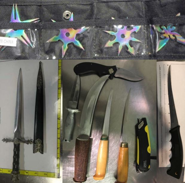 Clockwise from the top, these knives were discovered in carry-on bags at LAS, IAH, CLE and ABQ.