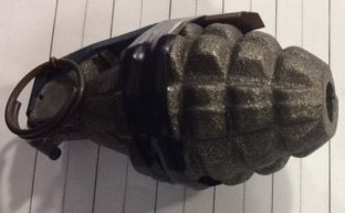 The inert grenade pictured above was discovered in a checked bag at the Piedmont Triad International Airport (GSO).