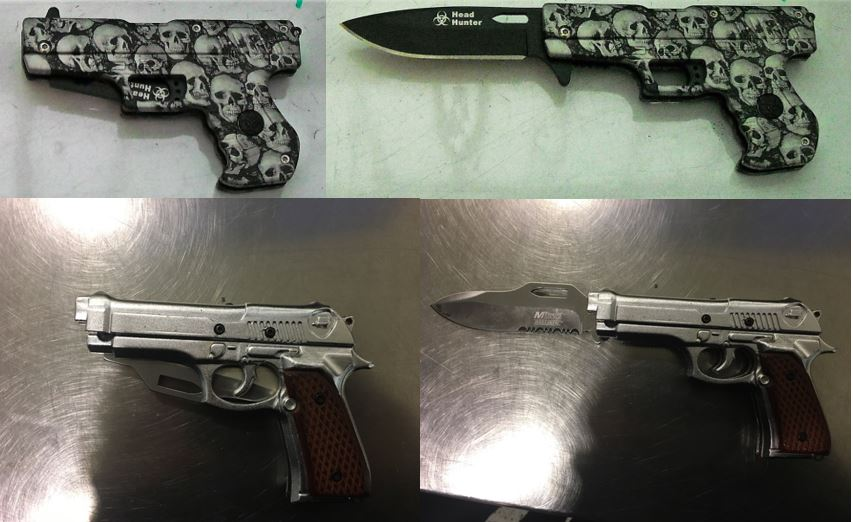 From top to bottom, these replica firearms/knives were discovered in carry-on bags at Raleigh Durham (RDU) and Cleveland (CLE).