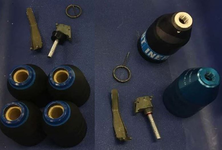 These inert anti-structure grenades were discovered in a checked bag at the Dulles International Airport (IAD).