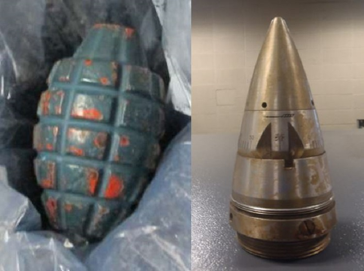 Left to right, the items pictured here were discovered at Juno (JNU) and San Diego (SAN). The inert grenade was discovered in a checked bag, and the inert Japanese artillery fuse was discovered in a carry-on bag.