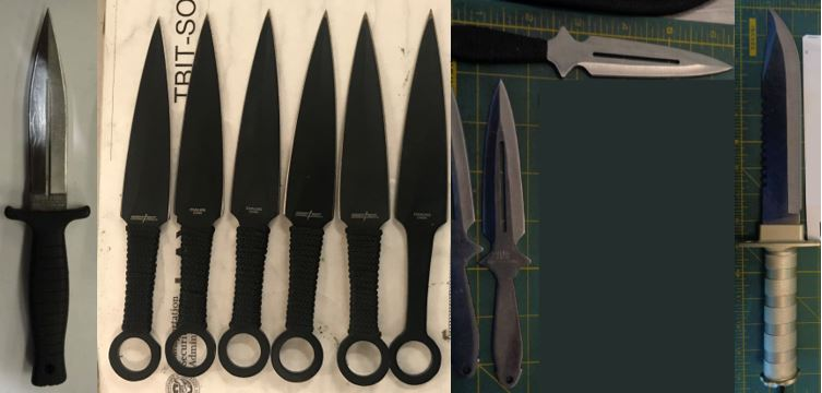 From the left, these knives were discovered in carry-on bags at ABQ, LAX, ELP and ELP. While all knives are prohibited in carry-on bags, they may be packed in checked baggage.