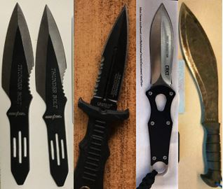 From the left, these knives were discovered in carry-on bags at CLE, BDL, BDL and DEN.