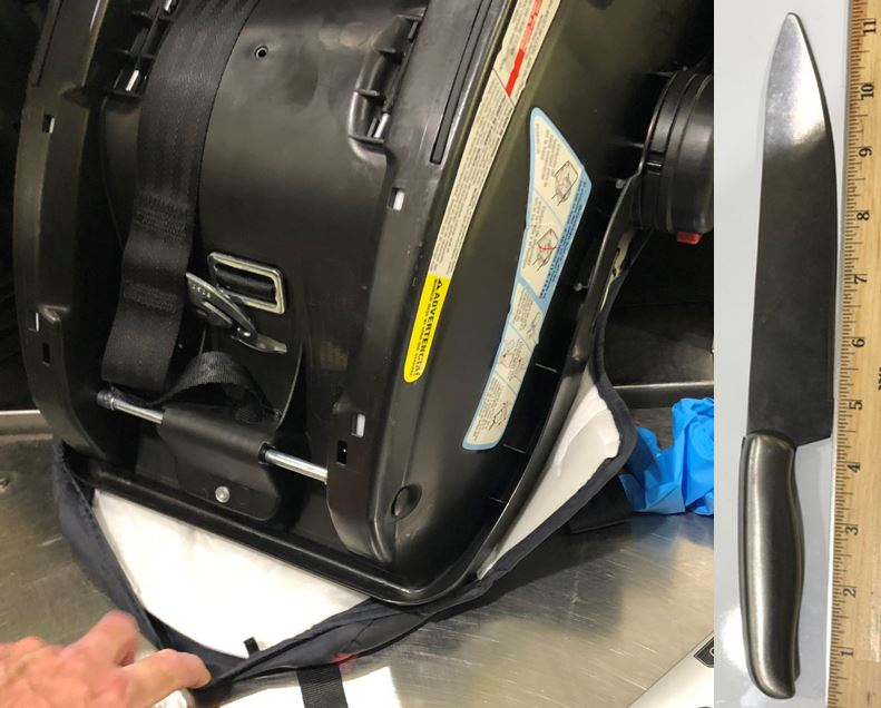 A large kitchen knife was discovered concealed inside of a child's car seat at the LaGuardia International Airport (LGA).