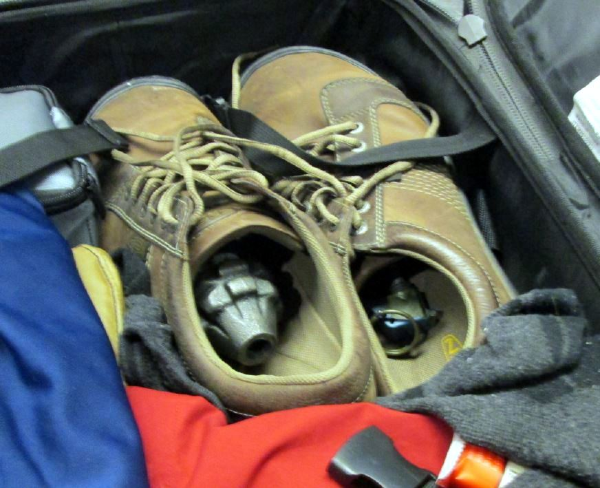 An inert grenade was discovered inside a shoe in a checked bag at Milwaukee (MKE).