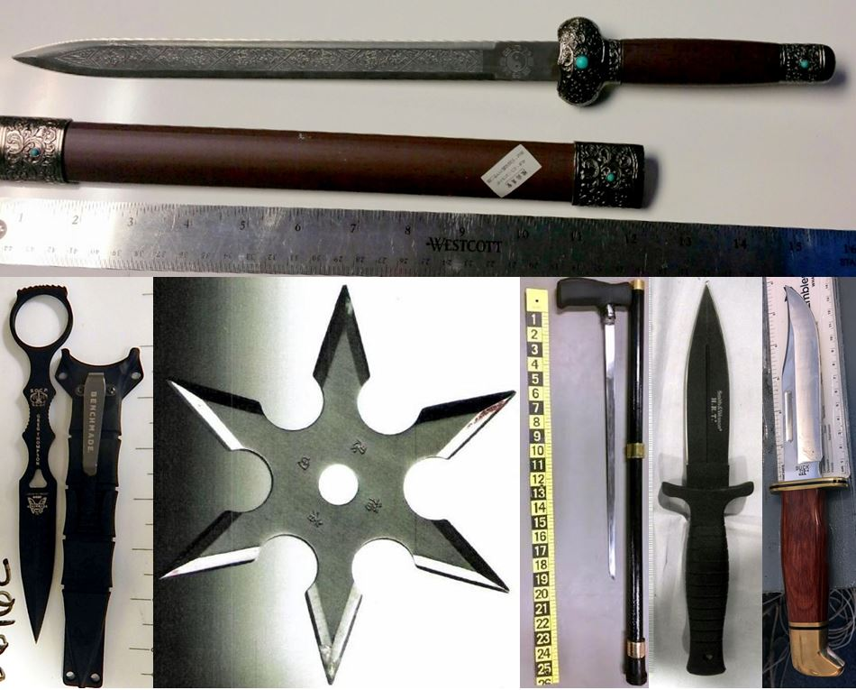 Clockwise from the top, these items were discovered in carry-on bags at ORD, LGA, BOI, ABE, DEN and MEM.