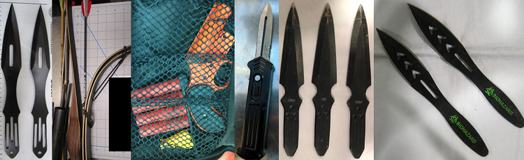 From left to right, these prohibited items were discovered in carry-on bags at PVD, SAN, BNA, BNA, BOI and BOI.