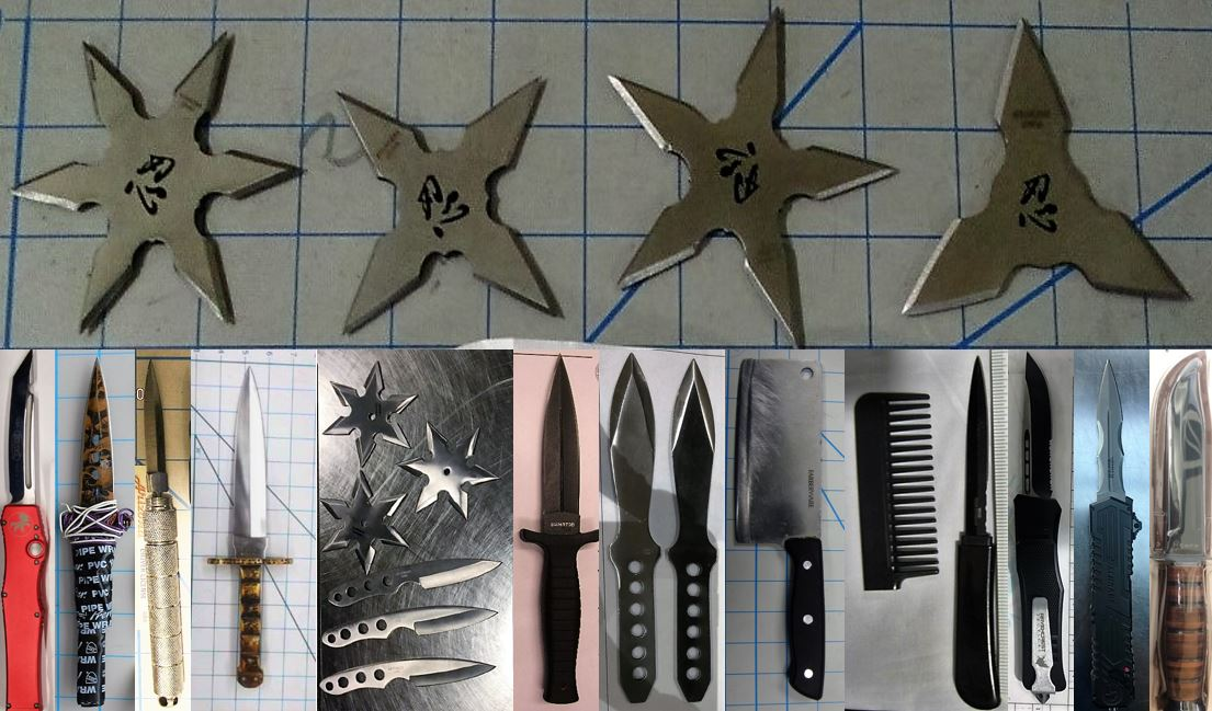 Clockwise from the top left, these prohibited items were discovered in carry-on bags at SAN, IAH, BNA, CMH, BOI, SAN, IAH, PVD, LAS, SAN, SAN, DEN and HNL.