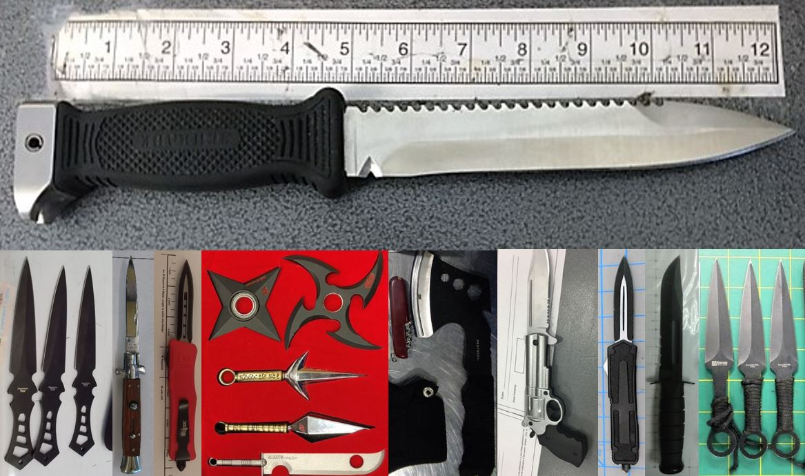 Clockwise from the top, these prohibited items were discovered in carry-on bags at SAT, CAK, MDW, DEN, ATL, ELP, ATL, SNA, PVD and RDU.