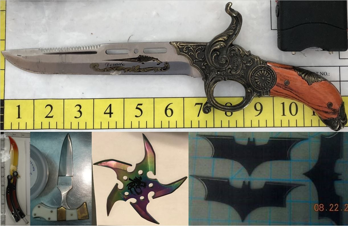 Clockwise from the top, these prohibited items were discovered in carry-on bags at STL, DEN, DCA, BNA and ABQ.