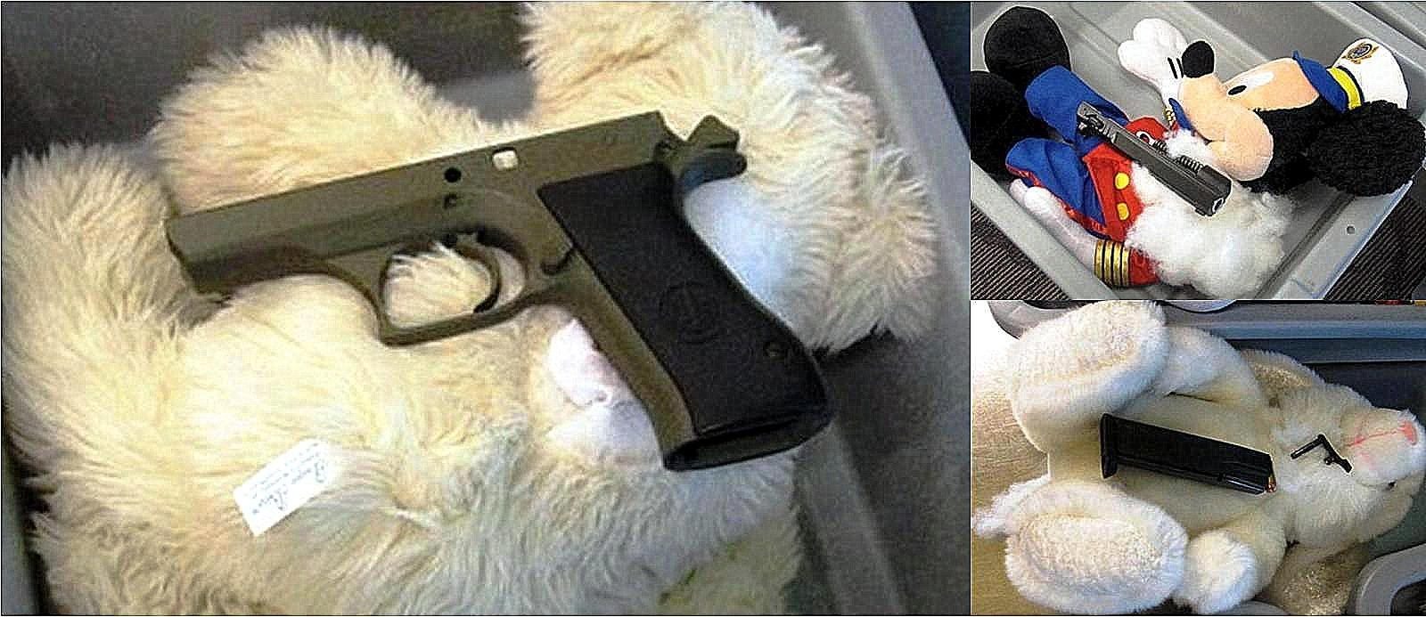 A disassembled gun and ammunition concealed in three stuffed animals.