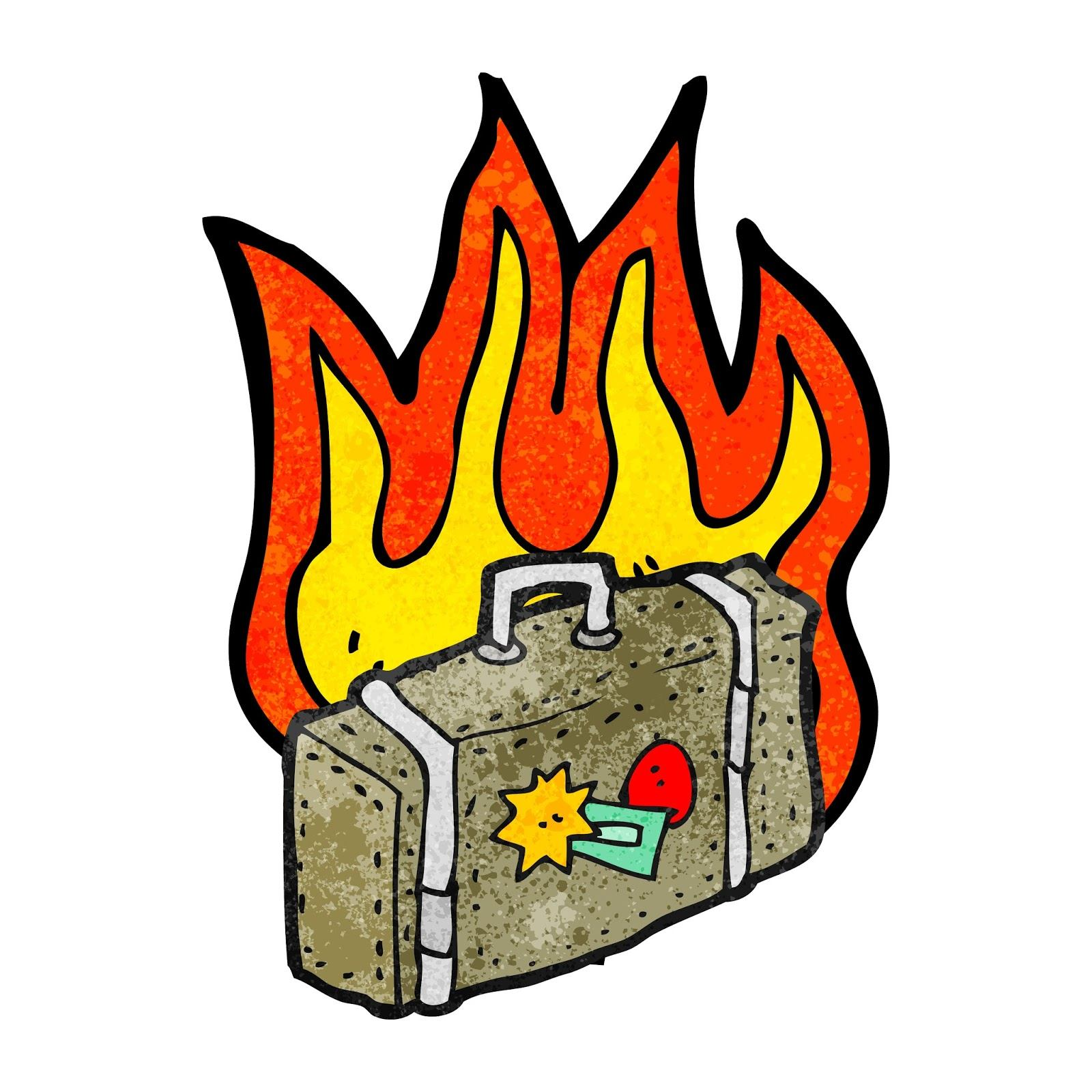 Checked bag on fire
