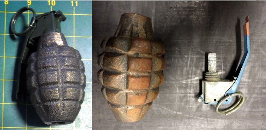 Discovered two inert grenades