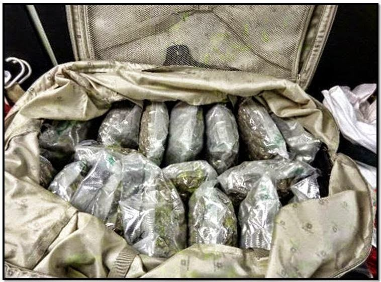 80 pounds of marijuana was discovered in a checked bag at the McClellan-Palomar Airport (CLD) in California.