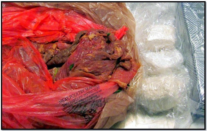 A San Jose International Airport (SJC) passenger was arrested after nearly three pounds of cocaine was discovered in his checked baggage wrapped inside a package of raw meat.