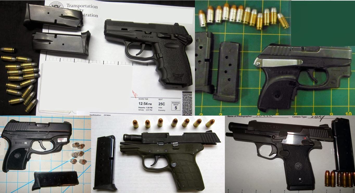 Left - Right / Top to Bottom: Firearms Discovered at BIL, LAS, EUG, RSW, SAT
