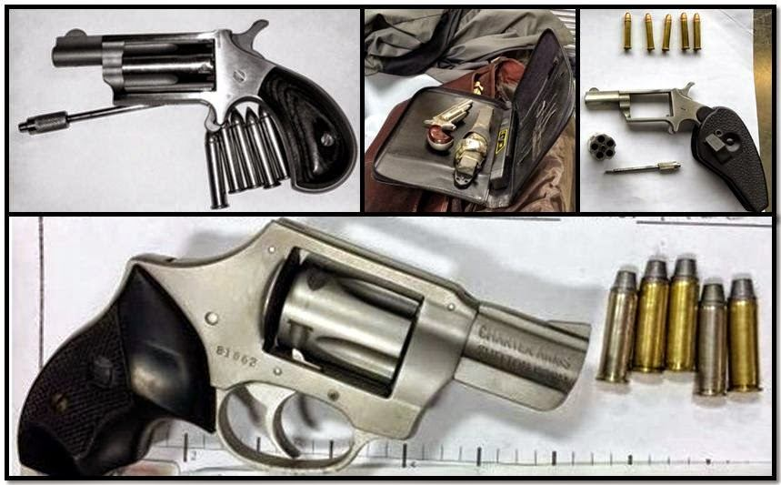 Clockwise from top left corner, firearms discovered in carry-on bags at: BNA, CMH, MSY & BIL