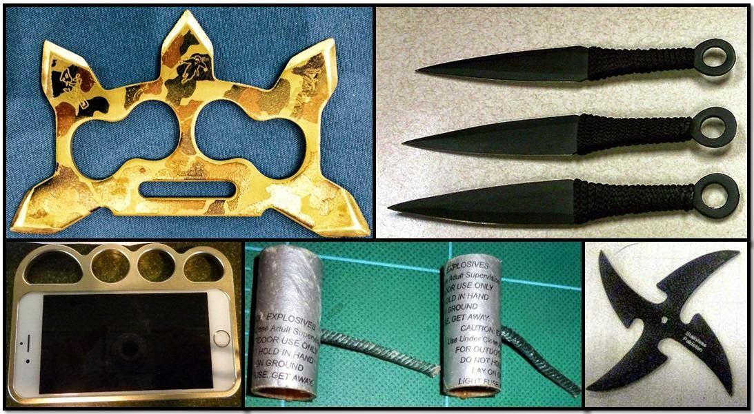 Punching Weapon (CHS), Throwing Knives (ORD), Throwing Star (MCO), M-80 Fireworks (TUS), Brass Knuckle Cellphone Case (ALB)