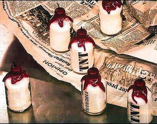 Discovered bottles of bath salts topped with wax-covered lids and fuses